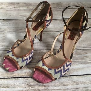 Missoni T-Strap Leather Knit Sandal Heels Sz 10